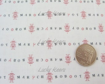 SALE Japanese Robot March (Pink) on White Fabric - Half Yard