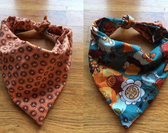 25 inch whimsy autumn pumpkins and orange tie on bandana
