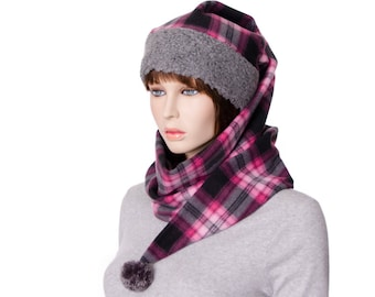 Pink and Gray Plaid Wrap Around Hat Pointed Stocking Cap with Gray Sherpa Headband Fleece body