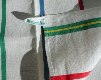French Vintage Tea towel, Torchon, Dish Cloth/Towel made in France by Descamps l'aine, Striped, Linen Cotton Metis in Excellent Condition