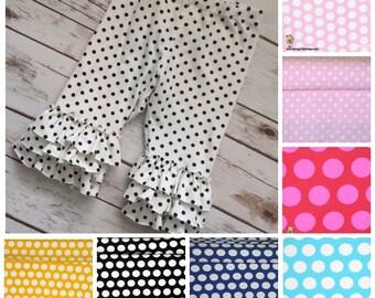 Girls Polka Dot Ruffled Leggings - capris or pants - 8 color options