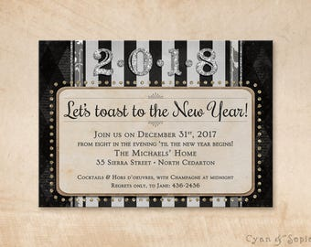 Printable New Year's Eve Party 2018 Invitation - 5x7 - A Toast - Modern Art Deco Scrapbook Stripes Glitter - Black White Gold Silver Ivory
