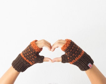 Sales Fingerless gloves in brown and orange texting mittens hand knit gloves wrist warmers women knit gloves winter accessories