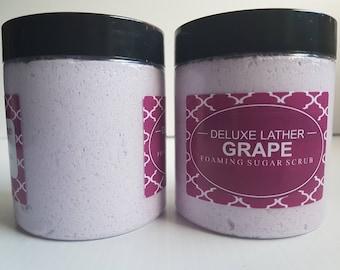 Grape foaming sugar scrub - Sugar scrub. Foaming scrub. Whipped sugar scrub. Gift for her. 8 oz jar.