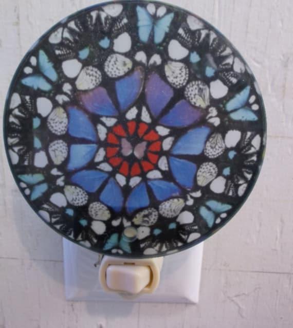blue mosaic night light, pretty night light, decorative night light, mosaic night light, bathroom night light, kitchen night light