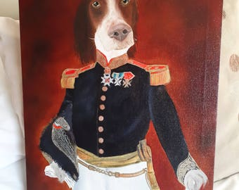 Dog Portrait in Military uniform. Oil On Canvas 20x16