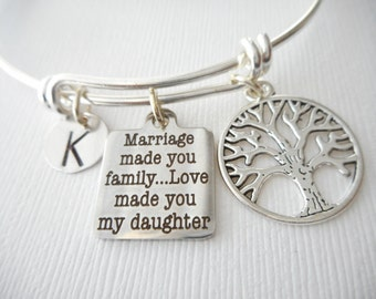Marriage Made You Family, Love Made You My Daughter, Tree- Initial Bangle/ Daughter in law gift, future Daughter in law bracelet gift