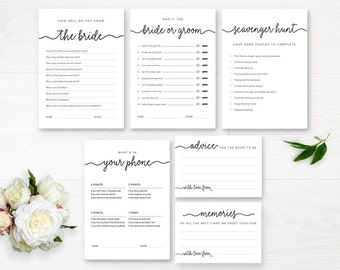 Bachelorette Party Games / Editable Bridal Shower Game / Printable Games / Editable Games / Minimal Black and White / Bridal Game Pack / DIY