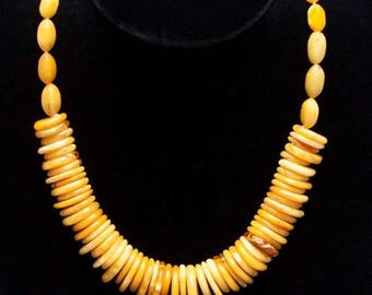 Unusual Scalloped Antique Natural Royal White Butterscotch Egg Yolk Baltic Amber Necklace 28.6g= 143 Ct from Latvia
