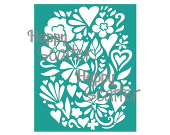 "Hearts And Flowers 8x10"" Stencil, Hearts Background Pattern Stencil, Romantic Stencil, Mixed Media, Scrapbooking Stencil, Cardmaking Stencil"