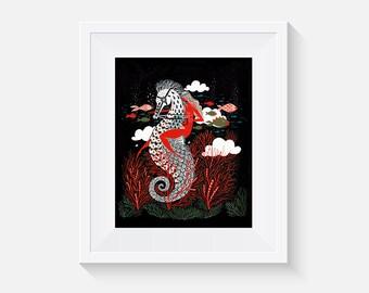 Undersea Red Goddess Art Print