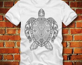 BOARDRIPPAZ Turtle T SHIRT Turtle Mandala Tortoise Animal Schildkröte Animal Shirt Turtle Shirt Hinduism Buddhism Universe Feng Shui Mandala
