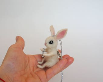 Angel Bunny Christmas bunny Fairy rabbit Angel wings Christmas bell Hanging ornament Tiny bunny Felt miniature Cute Christmas ornament