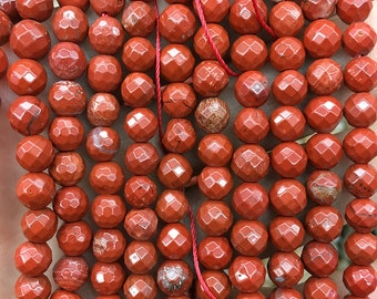 6mm red jasper beads, natural gemstone beads, jasper stone beads wholesale, round faceted semi precious beads in bulk 15''