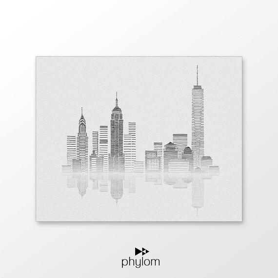 Line Drawing New York Skyline : New york skyline art printable hand drawn nyc
