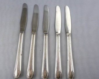 Vintage Silver Dinner Knives (5) Rose Pattern USA Good Cond.