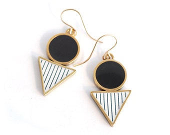 Geometric Black and Gold drop earrings