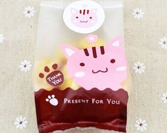Candy Favor Bags - Cat Gift Bag - Candy Bags - Cat Favor Bags - Animal Favor Bags, with Stickers Set of 20