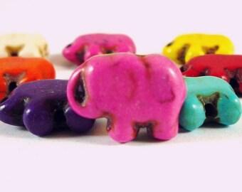 5 pearls elephants pink howlite, 10x14mm (PH54)