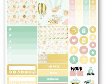 PRE-ORDER Hot Air Balloon sampler weekly kit, Suitable for Erin Condren vertical planner, Weekly planner stickers, Mini weekly kit