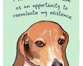 Distracted Beagle 8x10 Print of Original Painting with phrase