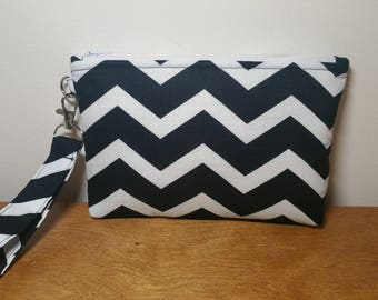 Black Chevron Wristlet Wallet, Phone Wristlet, Wristlet Purse, Gift for Her
