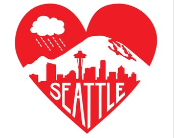 "Red Seattle Heart -- Limited Edition 12 x 12"" Screenprint"