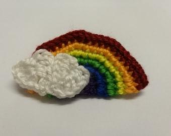 Rainbow With Clouds Crochet Hairclip