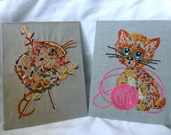 Retro 70s Set of 2 Embroidery Kitten & Hamster Pictures - Kitsch Wall Art Hangings Decor -Nursury, Kids Room, Country Cottage, Shabby Chic