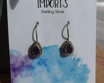 Petite Amethyst Drop Earrings // Sterling Silver Amethyst Earrings // Small Amethyst Earrings // Gifts for her / February Birthstone Jewelry
