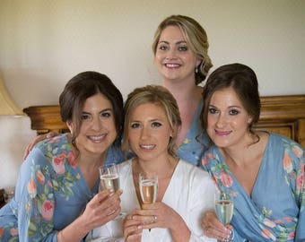 Premium Dusty Blue Bridesmaids Robes - Dreamy Angel Song Pattern - Soft Rayon Fabric - Better Design - Perfect as getting ready robes