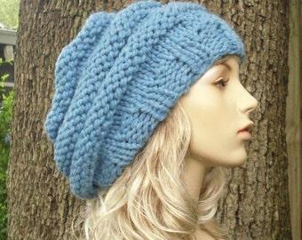 Knit Hat Womens Hat Slouchy Beanie - Oversized Beehive Beret Hat in Sky Blue Knit Hat - Blue Hat Blue Beret Blue Beanie Womens Accessories