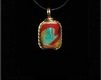 Tie Dye Glass Necklace - Hand made tie dye glass cremation urn pendant - Grateful Dead Tie Dye Glass Pendant