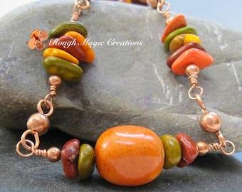 Colorful Boho Necklace, Multicolor Gemstones, Earthy Color Stones, Orange Olive Green Brown, Adjustable Length, Beaded Copper Chain N203