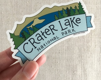 Crater Lake National Park Vinyl Sticker / Illustrated Waterproof Sticker / Crater Lake Oregon / Cool Laptop Sticker / Travel Memento