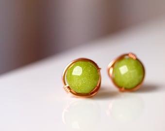 August Birthstone, Green Peridot, Lime Green Jade, wirewrapped stud earrings in rose gold filled