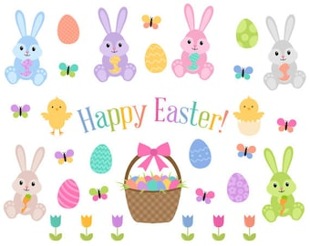 Easter Clip Art, Easter Bunny Clip Art, Easter Egg Clipart, Pastel Easter Clipart, Instant Download, Commercial Use