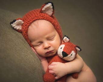 Newborn Fox Bonnet Photography Prop, Made to Order