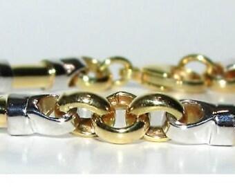 13.8 Grams Bar Link Bracelet 14KT 2 Toned Rare