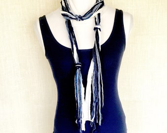 Blue Skinny Scarves | Summer Boho Scarf | Lightweight Blue and White Scarf | Extra Long Skinny Scarf | Bohemian Art Yarn Scarves for Women