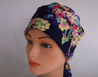 Watercolor Bouquet Tie Back - Womens lined surgical scrub cap, chemo hat, Bakers hat, Nurse scrub cap, 19+4900 W