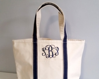 Monogrammed canvas tote bag, monogram beach bag, boat tote, monogrammed gifts for her, womens gift, Personalized Bridesmaid Tote Bag