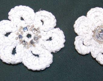 Crochet flowers and rhinestones