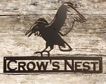 Flying Crow Metal Wall Art with Custom Text (Y13)