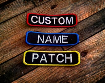 Personalised Custom Name Patch, Any Text Any Colour! Embroidered Nickname Rank Flash Biker Club Airsoft Military Tactical paintball security