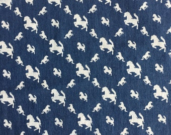 Prancing Ponies - Chambray Fabric - perfect for dressmaking