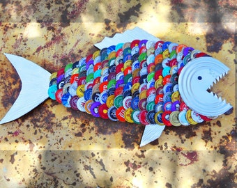 OOAK Large Handmade Trash Art Recycled Toothy Bottle Cap Fish — Multi-colored Assorted Bottle Caps