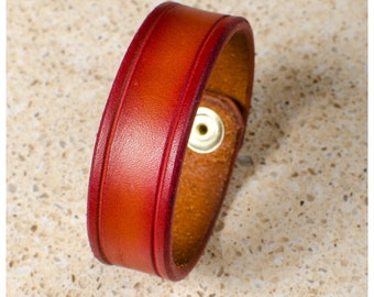"Beveled cherry sunburst leather cuff - 7"" wearable size"