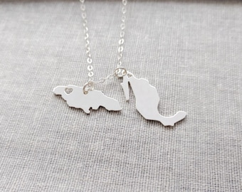 Two Countries Necklace,Silver Two Country Necklace,Best Friendship Country Necklace,Any Country Pendants on a Necklace,Best Friend Necklace