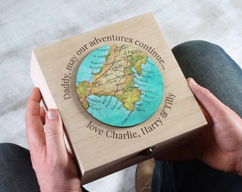 Personalised Keepsake Box Father's Day Gift - Gift for daddy - memory box - custom map box - wooden storage box